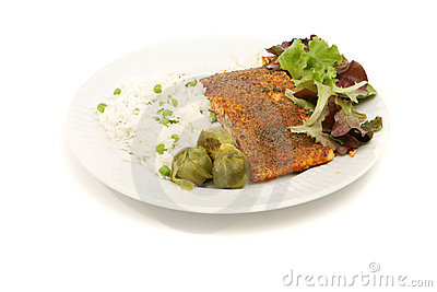 Delicious baked salmon meal