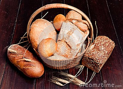 Delicious bread in basket