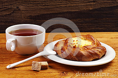 Delicious bun and tea