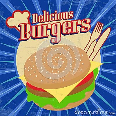 Delicious Burgers vintage poster