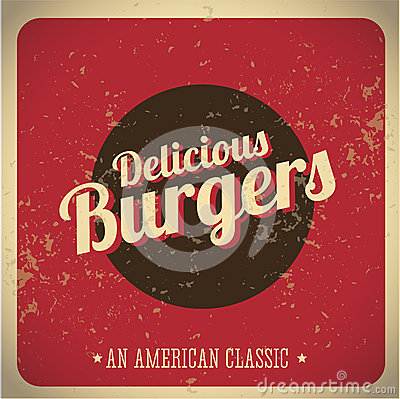 Delicious Burgers vintage print