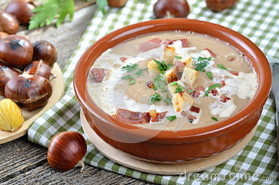 Delicious chestnut soup with celery, croutons and roasted bacon from ...