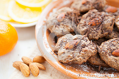 Delicious chocolate cookies with almonds