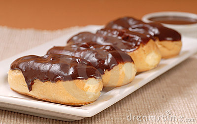 Delicious chocolate eclairs