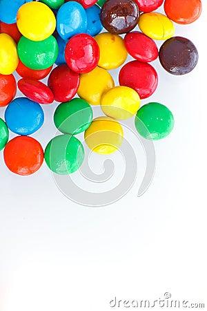 Delicious chocolates  on white background