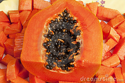 Delicious Chopped Papaya Fruit