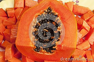 Delicious Chopped Papaya Fruit