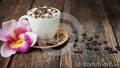 Delicious coffee with chocolate