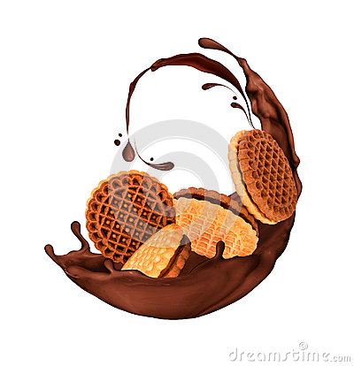 Free Delicious Cookies In Splashes Of Chocolate Isolated On White Royalty Free Stock Photo - 98641065