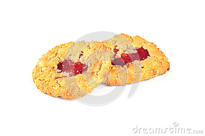 Delicious cookies with strawberry jam, on white background