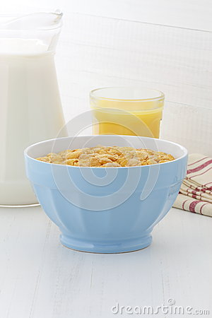 Delicious corn flakes breakfast