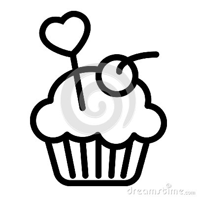 Delicious cupcake, muffin line icon. Creamy cake vector illustration isolated on white. Bakery outline style design Vector Illustration