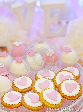 Free Delicious Fancy Pink Cookies And Biscuits Royalty Free Stock Photos - 44504358