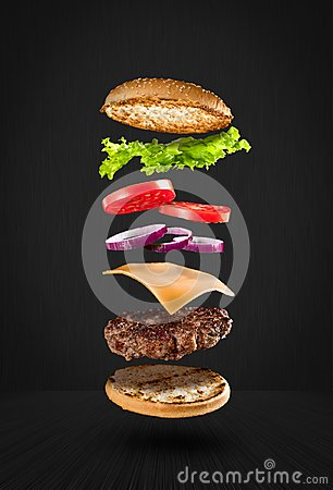 Free Delicious Flying Hamburger Stock Image - 105665781