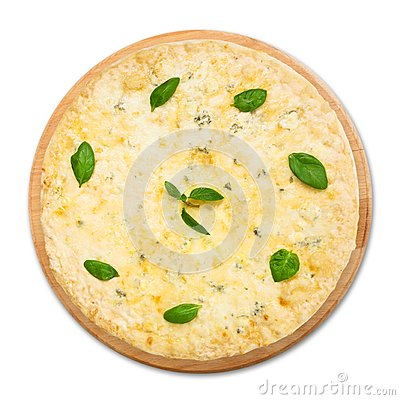 White Four-Cheese Pizza With Basil And Garlic Recipe ...