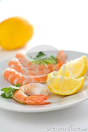 Delicious fresh cooked shrimp prepared