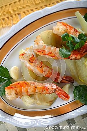 Delicious grilled shrimps