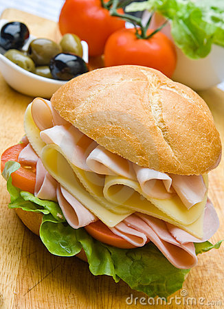 Free Delicious Ham, Cheese And Salad Sandwich Royalty Free Stock Images - 6965849