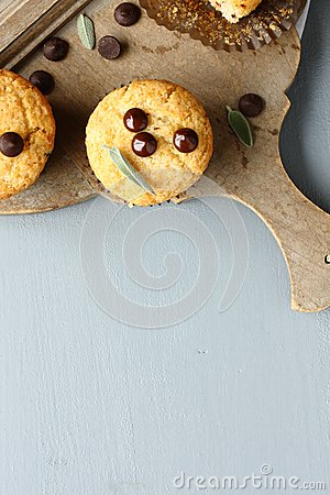 Free Delicious Homemade Gluten Free Muffins With Chocolate Drops Stock Photos - 44644483