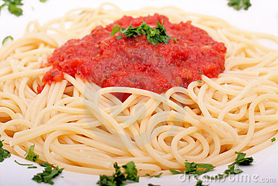 Delicious homemade spaghetti with tomato sauce