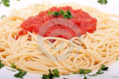 Delicious homemade spaghetti with tomato sauce