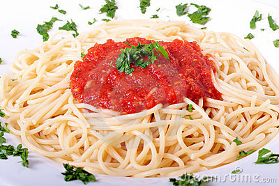 Delicious homemade spaghetti with tomatoe sauce