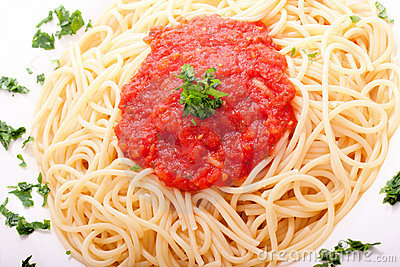 Delicious homemade spaghetti with tomatoe sauce