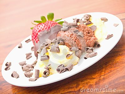 Delicious icecream dessert on white plate