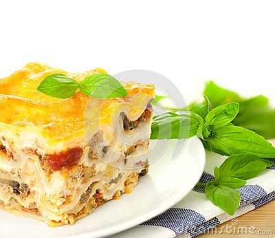 Delicious Italian Lasagna / with fresh basil