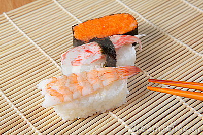 Delicious japan sushi mix with chopsticks