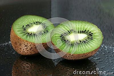 Delicious kiwi fruit on the mirror