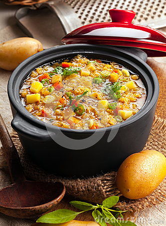 Delicious lentil and vegetable stew