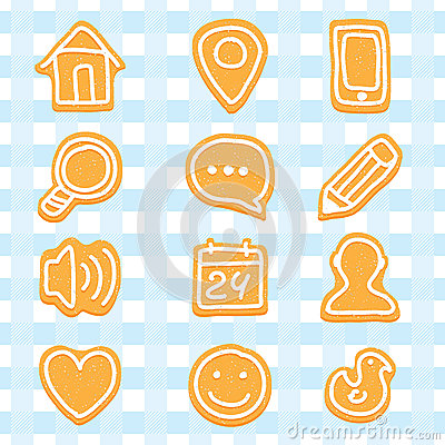 Delicious and nice cookies icons set