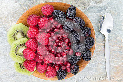 Delicious nutritional snack in a wooden bowl