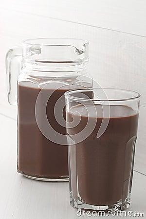 Chocolate jar and glass