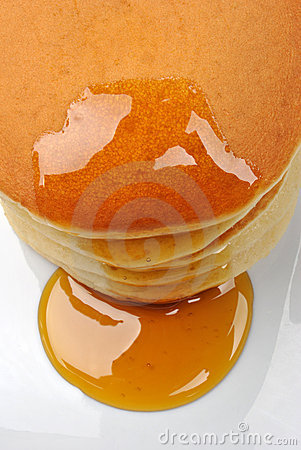 Delicious pancake with organic honey