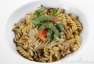 Delicious Pasta On White Plate Stock Image - Image: 34350451