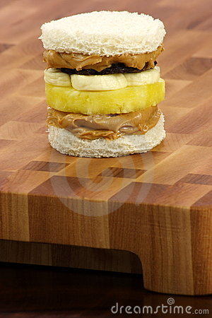Delicious  peanut butter and jelly sandwich