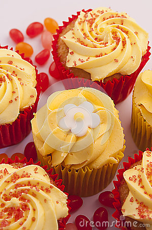 Delicious pineapple and rhubarb cupcakes