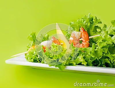 Delicious salad of shrimps