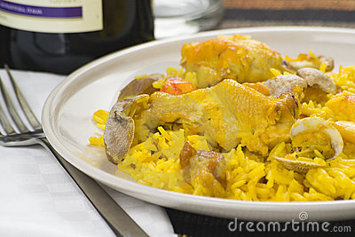 Delicious seafood paella and chicken rice yellow