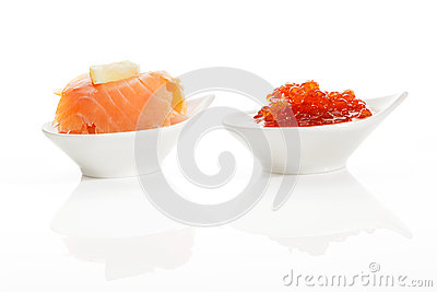 Delicious seafood. Salmon and caviar.