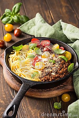 Free Delicious Spaghetti Bolognaise Stock Photography - 113128892
