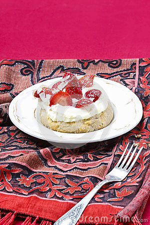 Delicious strawberry cake on party table