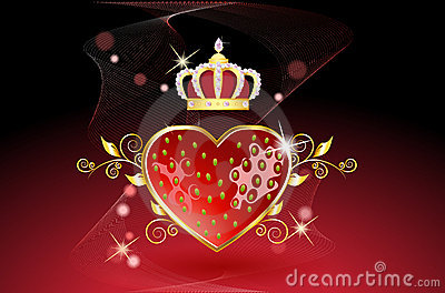 Delicious strawberry heart with crown