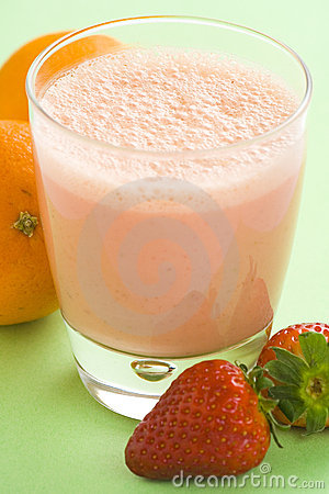 Delicious strawberry orange banana milkshake
