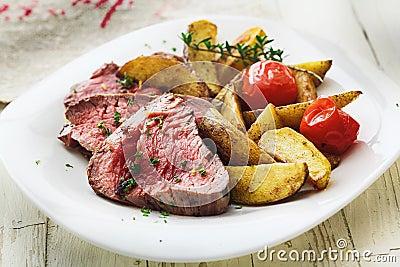 Delicious succulent rare beef steak