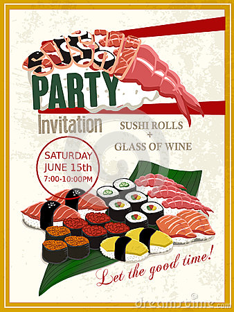 Free Delicious Sushi Party Invitation Poster Royalty Free Stock Images - 57053959
