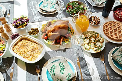 Delicious Turkey on Dinner Table Stock Photo