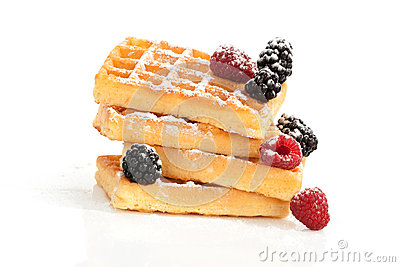 Delicious waffle on white.